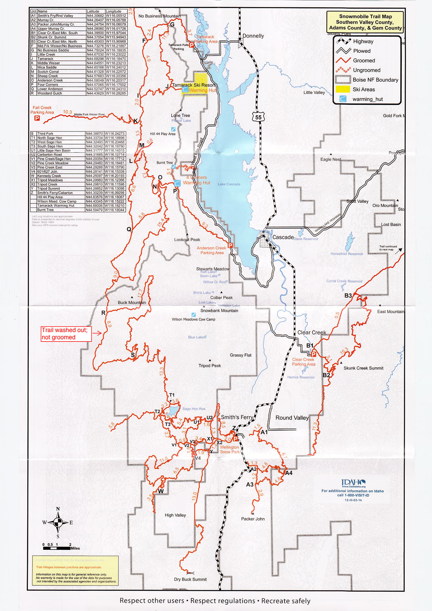 Snowmobile Trail Maps  McCall Donnelly Cascade Amp Smiths